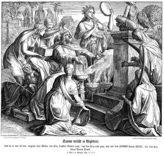 Solomon's Idolatry, by Schnorr von Carolsfeld, Julius, 1794-1872, from Die Bibel in Bildern