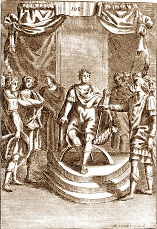 """""""Rehoboam Seeks Advice"""", by Nicolas Fontaine, 1625-1709, from The history of the Old and New Testament : extracted out of Sacred Scripture and writings of the Fathers, at Pitts Theological Library"""