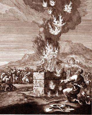 Contest on Mt. Carmel, copper engraving by Caspar Luiken, 1672-1708, from Historiae celebriores Veteris Testamenti Iconibus representatae