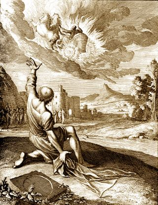 Elisha watches Elijah leave in a Chariot of Fire, Caspar Luiken, 1672-1708, from Historiae celebriores Veteris Testamenti Iconibus representatae, at Pitts Theological Library