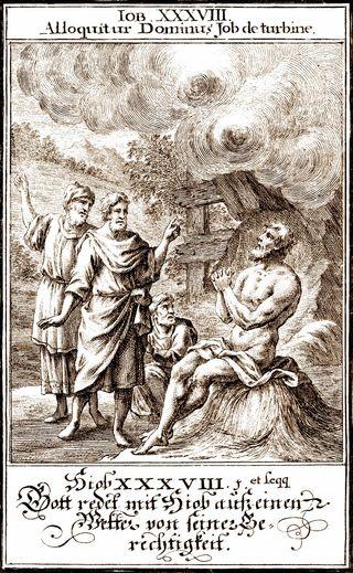 God Speaks to Job, 1695, by Christoph Weigel, from Biblia ectypa : Bildnussen auss Heiliger Schrifft Alt und Neuen Testaments
