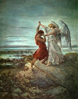 """Jacob Wrestling with the Angel, 1865 engraving, by Gustave Dore', from the """"La Sainte Bible"""""""
