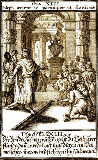 Joseph's Brothers in Egypt, 1695 woodcut, Christoph Weigel, from Biblia ectypa : Bildnussen auss Heiliger Schrifft Alt und Neuen Testaments