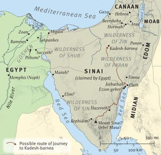 Sinai to the River Jordan, map from the ESV Study Bible