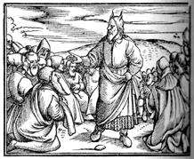 """Moses Instructs Israel, woodcut 1536, from """"Zurich Bible"""" - Die gantze Bibel : das ist alle Bücher allts vnnd neüws Testaments den vrsprünglichen spraachen nach auffs aller treüwlichest verteütschet"""""""