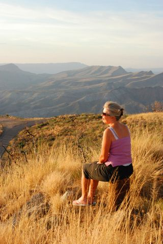 My wife enjoying God's creation on a nearby mountain top.