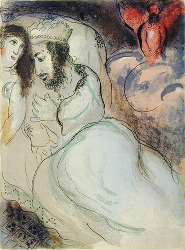Sarah and Abimelech, 1960, by Marc Chagall