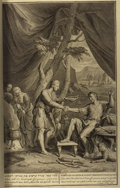 Esau Sells His Birthright, 1728 Illustration from Figures de la Bible