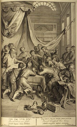 Jacob Blessing his Sons, 1728, by Gerard Hoet, from Figures de la Bible