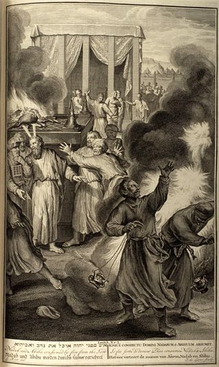 Nadab and Abihu consumed by fire from the Lord, Illustration from Figures de la Bible (1728)