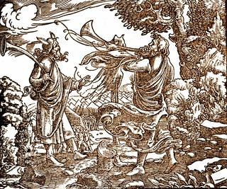 Israel's Silver Trumpets, woodcut, c 1500, Martin Luther Bible