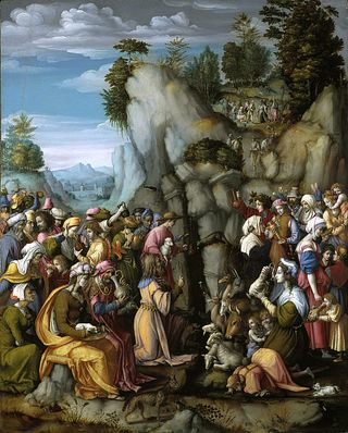 Moses Striking the Rock, c 1525, Francesco Ubertini Bacchiacca, National Galleries of Scotland