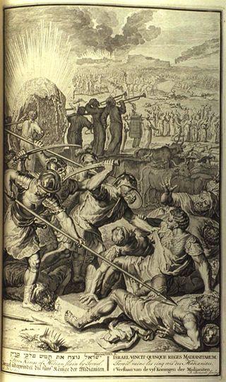 Five Kings of Midian Slain by Israel, 1798 engraving, from Figures de la Bible