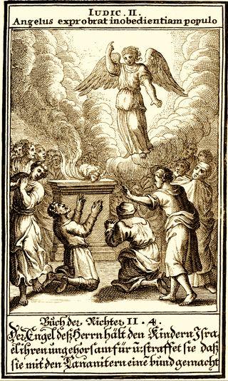 Angel at Bokim, 1695, by Christoph Weigel, from Biblia ectypa : Bildnussen auss Heiliger Schrifft Alt und Neuen Testaments