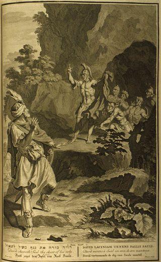 David Shows Saul the Skirt of his Robe, 1728, Figures de la Bible