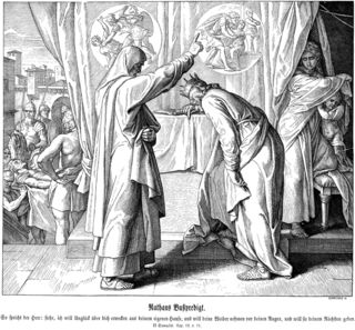 Nathan Confronts King David, Julius Schnorr von Carolsfeld's (1794-1872) depiction of the Prophet Nathan confronting David over his act of adultery with Bathsheba and his subsequent murder of Uriah the Hittite (center); to the left, Uriah's dead body is brought into the city for burial and to the right, Bathsheba holds the son she bore to David.