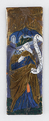 Plate: The Prophet Isaiah Workshop of Orleans Triptych (circle) France, Limoges. Late 15th - early 16th century Copper and enamel; polychrome painting, with gilding and opaque enamel on back side. 17.7x6 cm, The State Hermitage Museum
