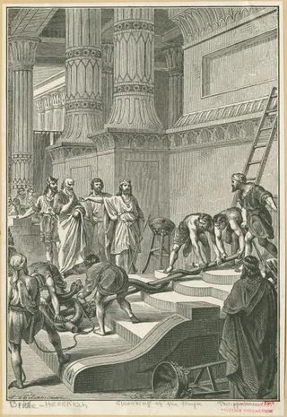 Hezekiah Cleansing Temple, From The Bible and its story : taught by one thousand picture lessons. (New York : Niglutsch, 1908) Bewer, Julius A. (Julius August) (1877-1953), Editor. Horne, Charles F. (Charles Francis) (1870-1942), Editor. New York Public Library Digital Gallery