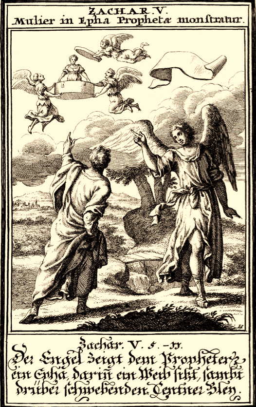Zechariah's Vision of the Woman in the Basket, by Christoph Weigel, Pitts Theological Digital Image Archive
