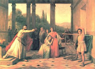 Saul Throwing his Spear at David, by Constantin Hansen (1804-1880)
