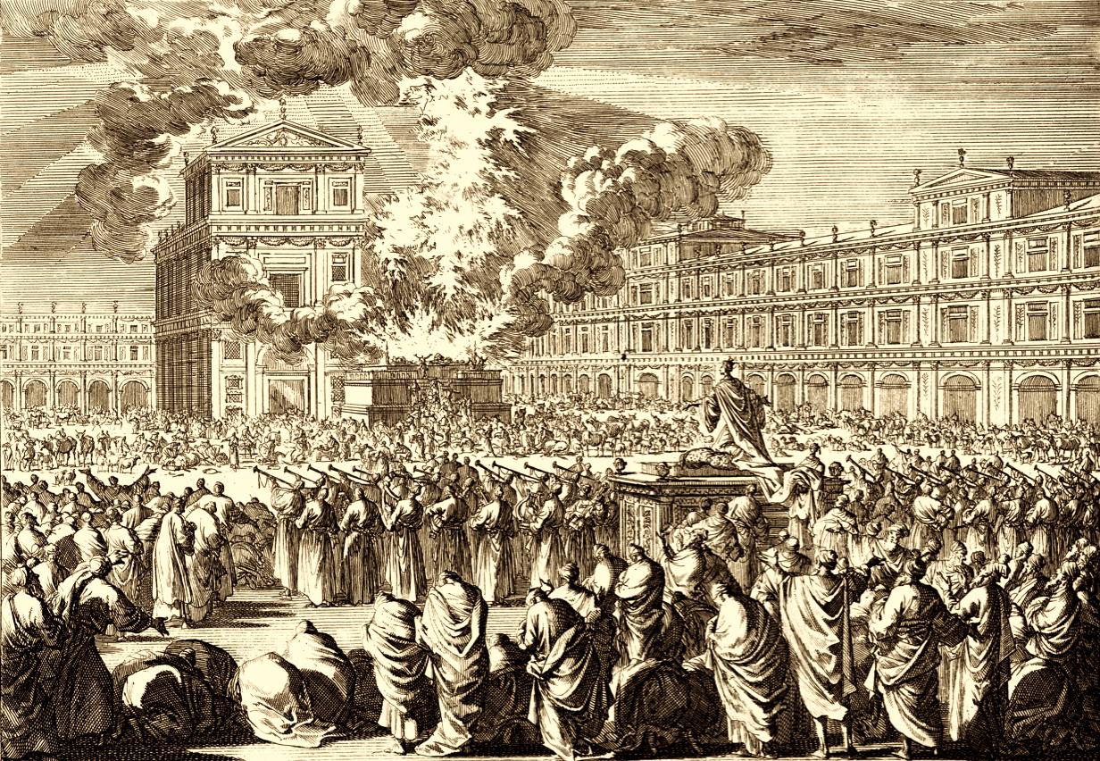Dedication of Solomon's Temple, woodcut, c 1700, from Historie des Ouden en Nieuwen Testaments : verrykt met meer dan vierhonderd printverbeeldingen in koper gesneeden
