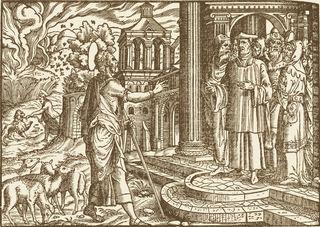Amos Prophesies Against Israel, image from Martin Luther's Biblia, das ist, Die gantze Heylige Schrifft Teutsch / D. Mart. Luth. ; sampt einem Register, Summarien vber alle Capittel, vnd schönen Figuren