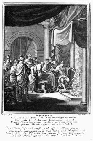 Jehoiakim Burns the Scroll, Luiken, Caspar, 1672-1708, Pitts Theological Library Digital Image Archive