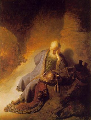 """Jeremiah Lamenting the Destruction of Jerusalem"", 1630, by Rembrandt."