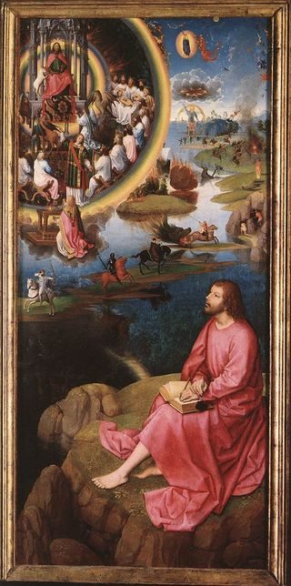 "St. John the Evangelist on the Island of Patmos, 	Right wing of the ""St. John Altarpiece"", c 	1474-79, Hans Memling"
